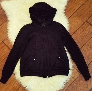MARC JACOBS Fur lined Fluffy Black Zip Up Hoodie